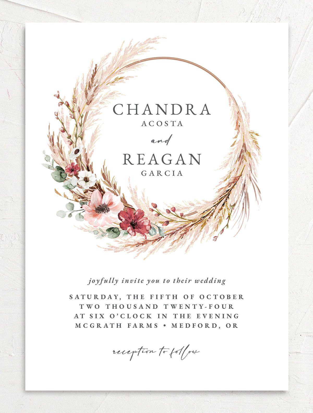BOHEMIAN HOOP wedding invitation front in GRN