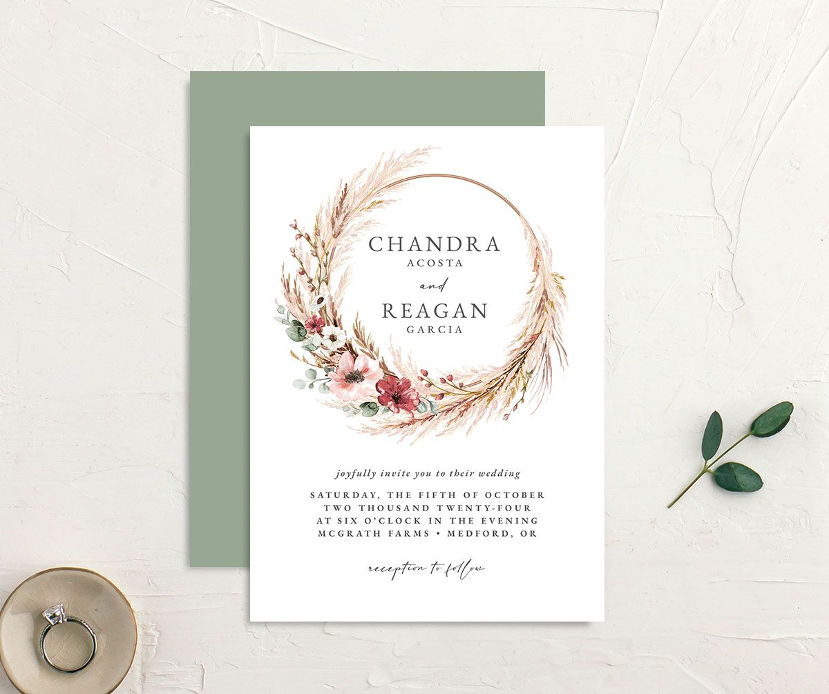 BOHEMIAN HOOP wedding invitation front and back in GRN