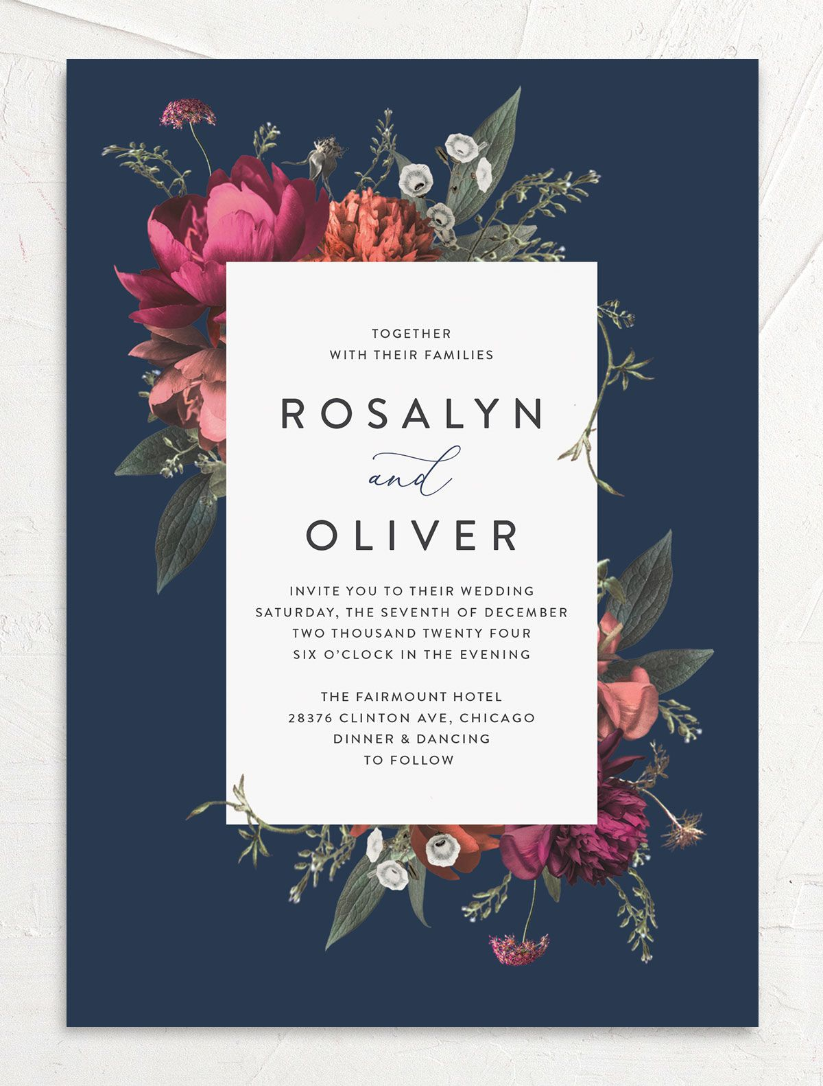 Blooming Botanical Wedding Invitation front in navy