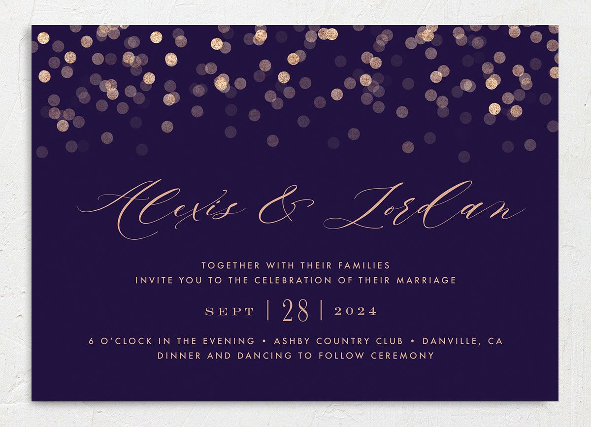 Elegant glow wedding invitation front in purple