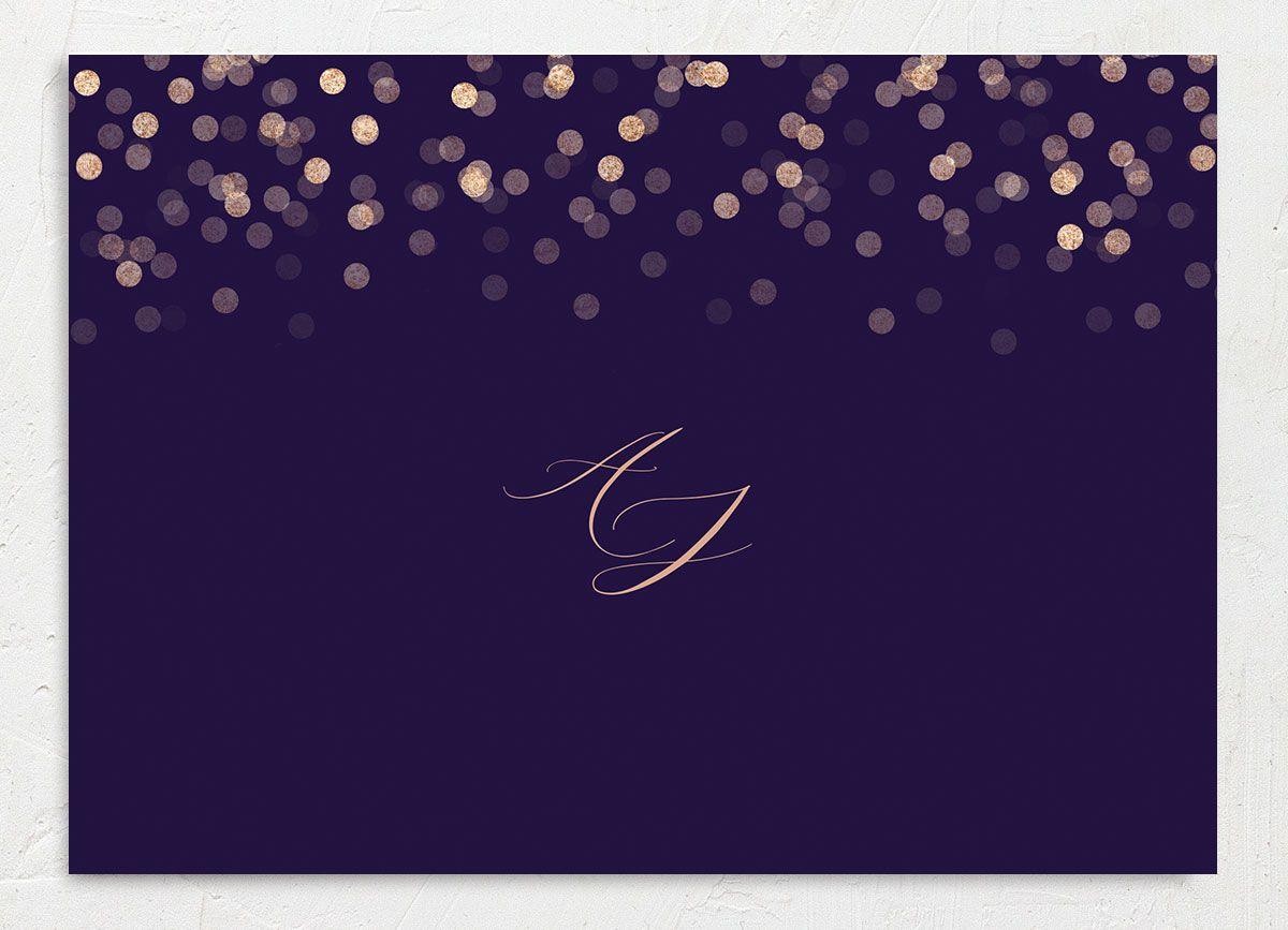 Elegant glow wedding invitation back in purple