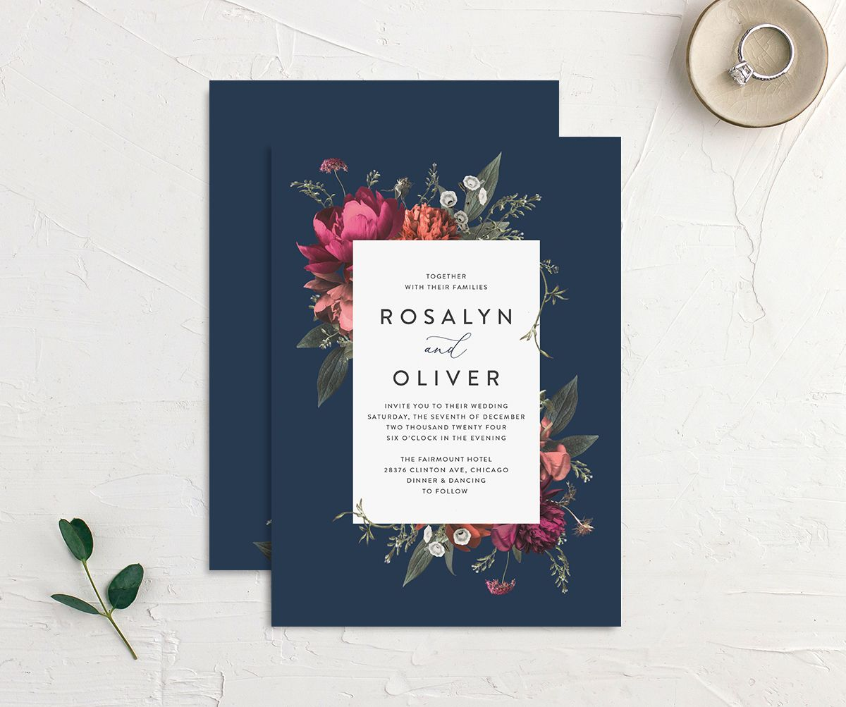 Blooming Botanical Wedding invitation front and back in navy