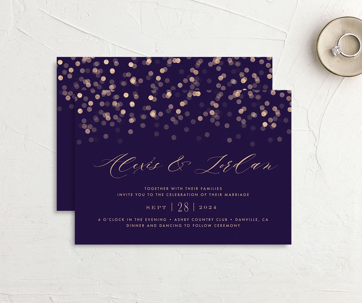 Elegant glow wedding invitation front and back in purple