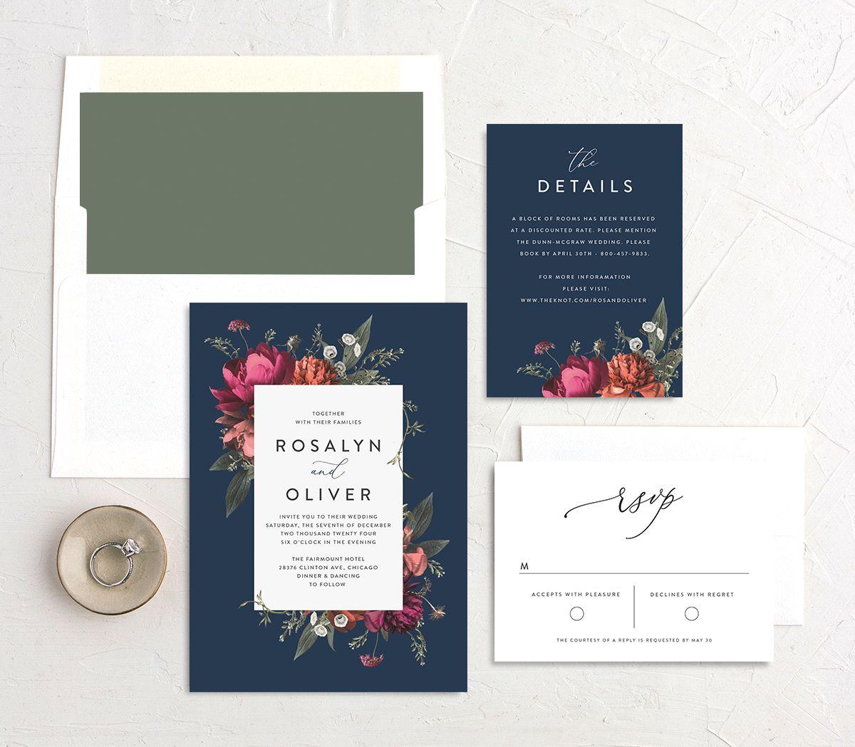 Blooming Botanical wedding invitation suite in navy