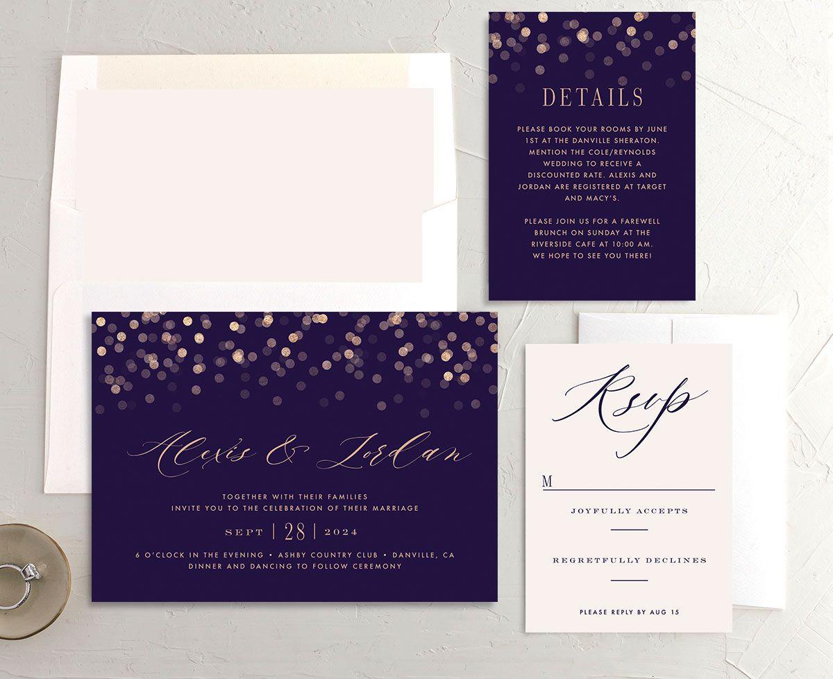 Elegant glow wedding invitation suite in purple