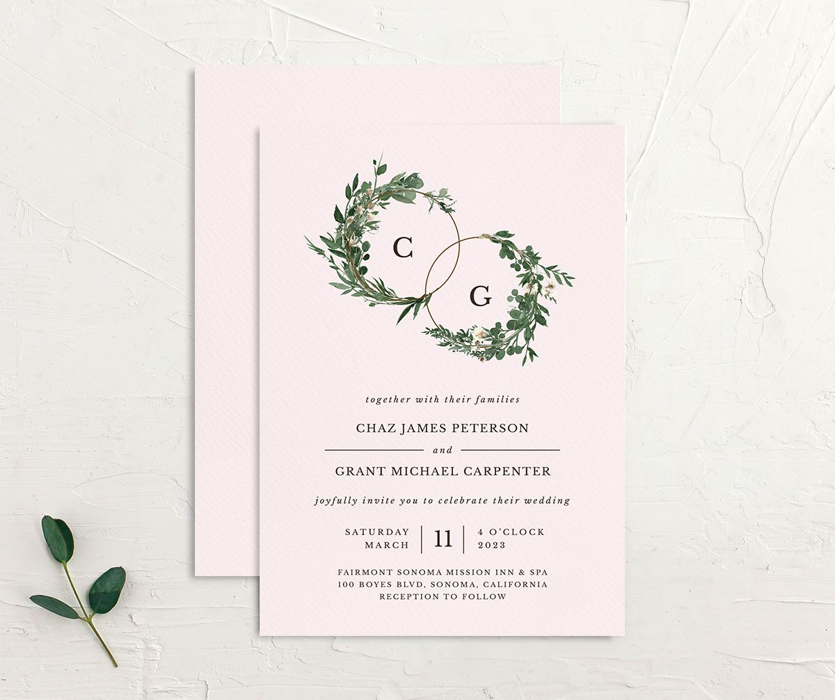 Leafy Hoops wedding invitation front and back in PNK