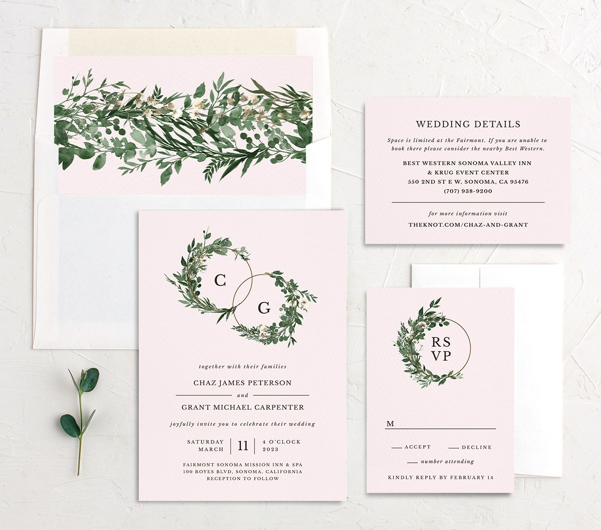 Leafy Hoops wedding stationery suite in PNK