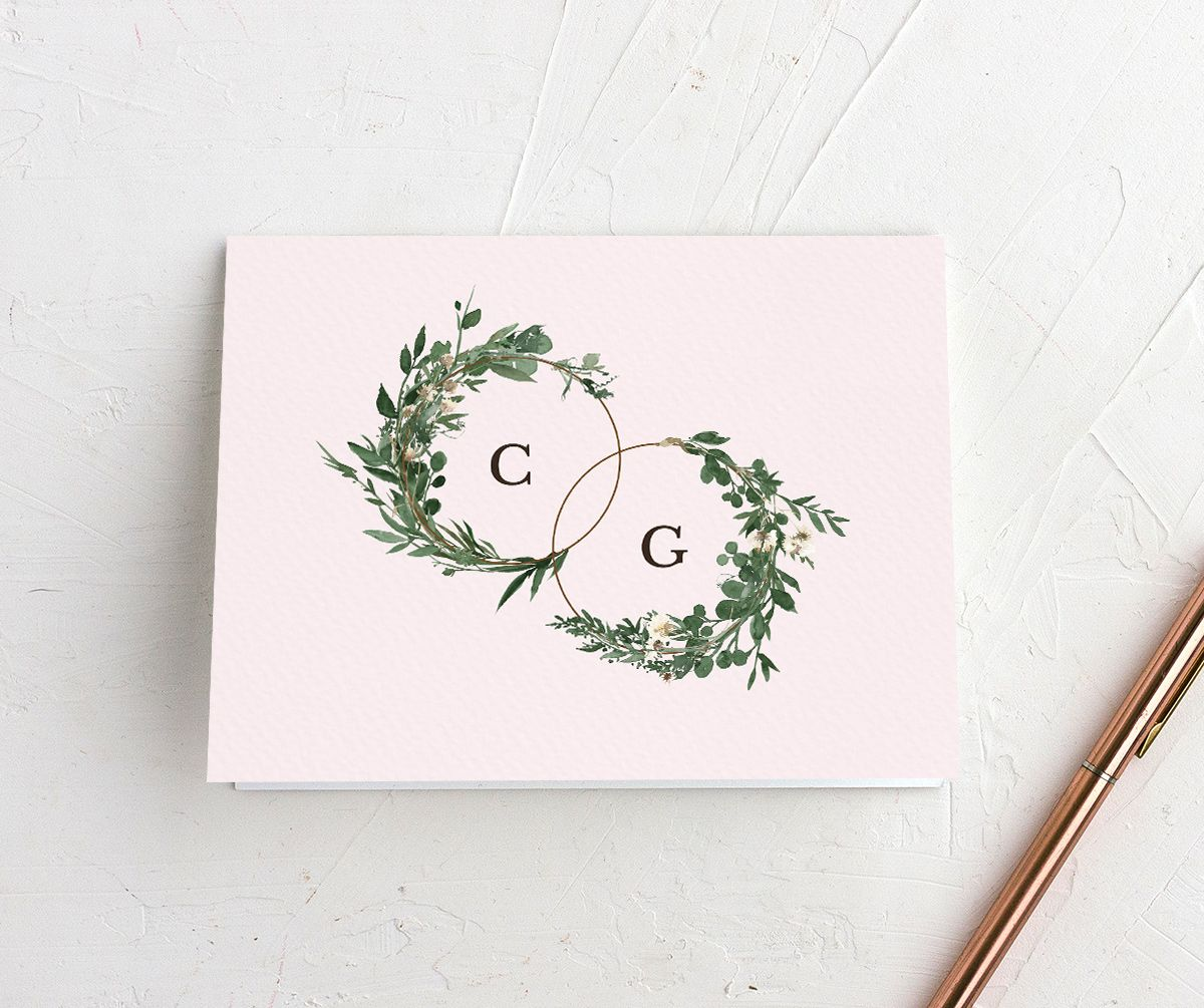 Leafy Hoops wedding thank you card front in PNK