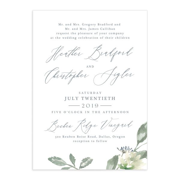 Dusted Calligraphy invite blue