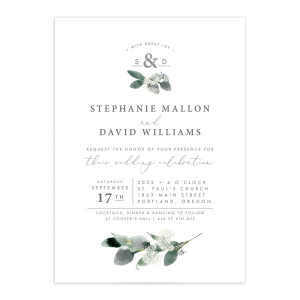 Elegant greenery invite
