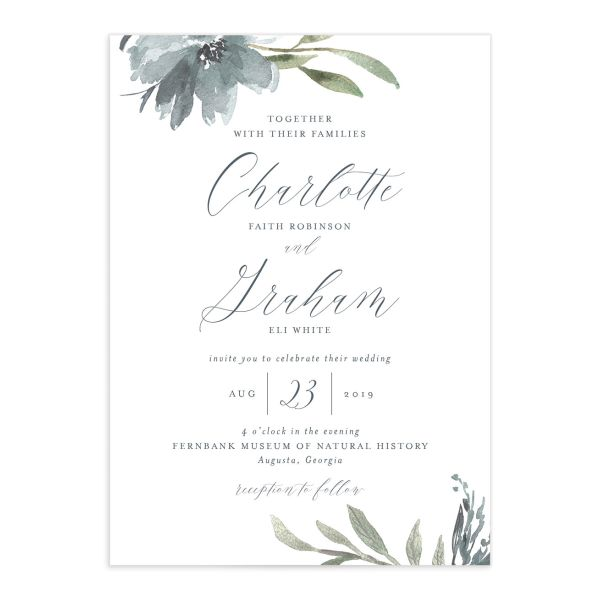 muted floral wedding invitations in dusty blue