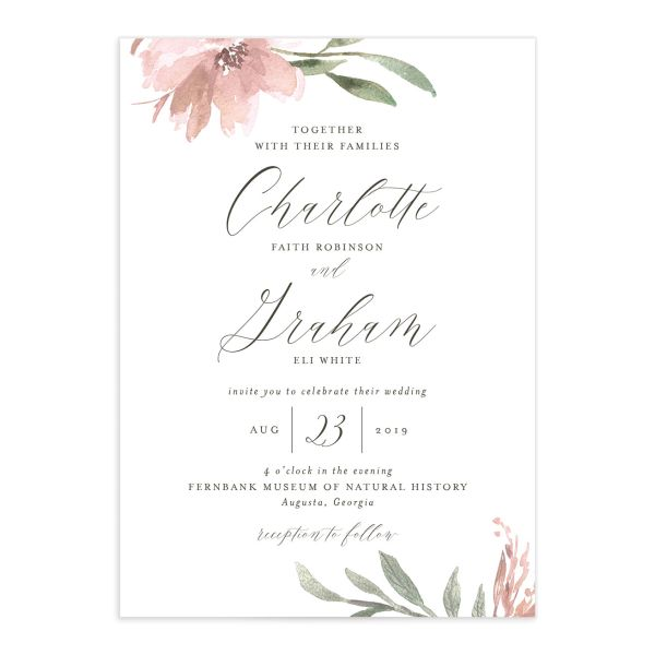 muted floral wedding invitations in pink