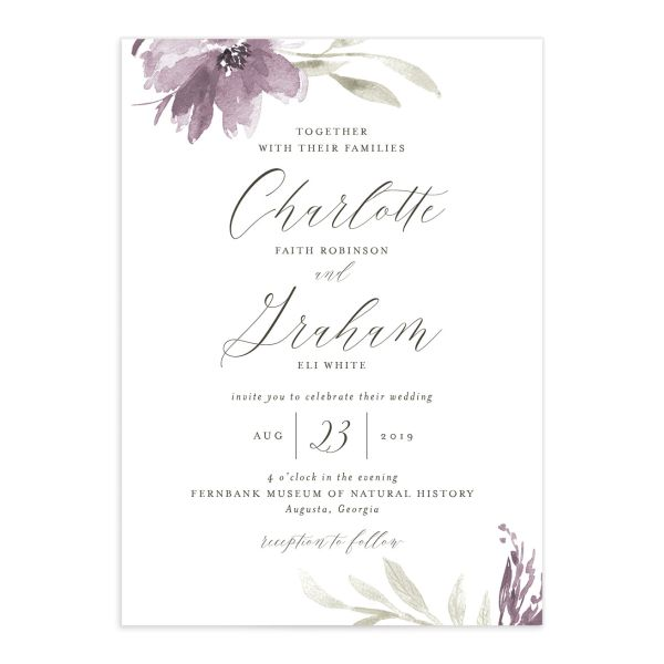 muted floral wedding invitations in purple