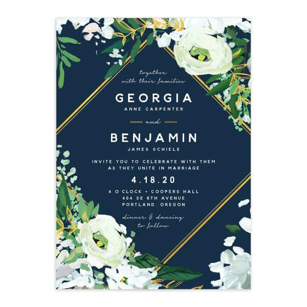 Painted Greenery wedding invitation in navy