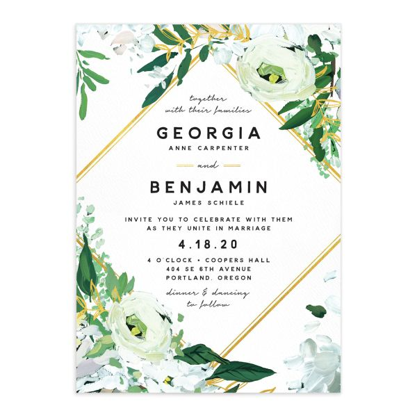 Painted Greenery wedding invite