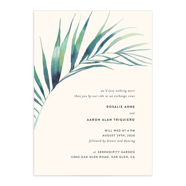 Palm and Protea Wedding Invites front closeup