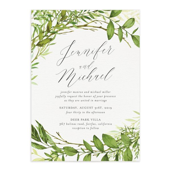 Watercolor Greenery wedding invite front
