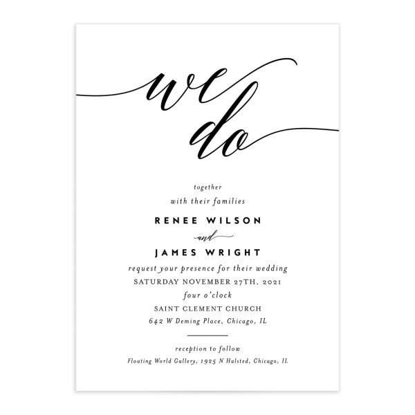 We Do Wedding Invitations front in black