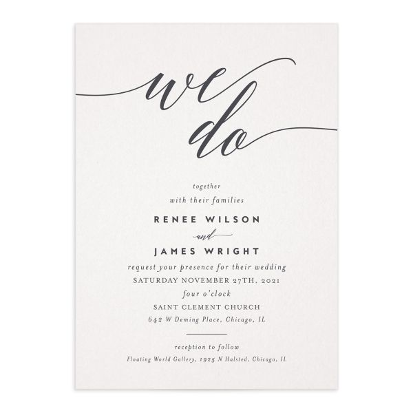 We Do Wedding Invitations front in gray