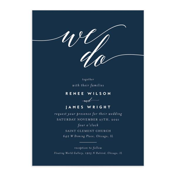 We Do Wedding Invitations front in navy