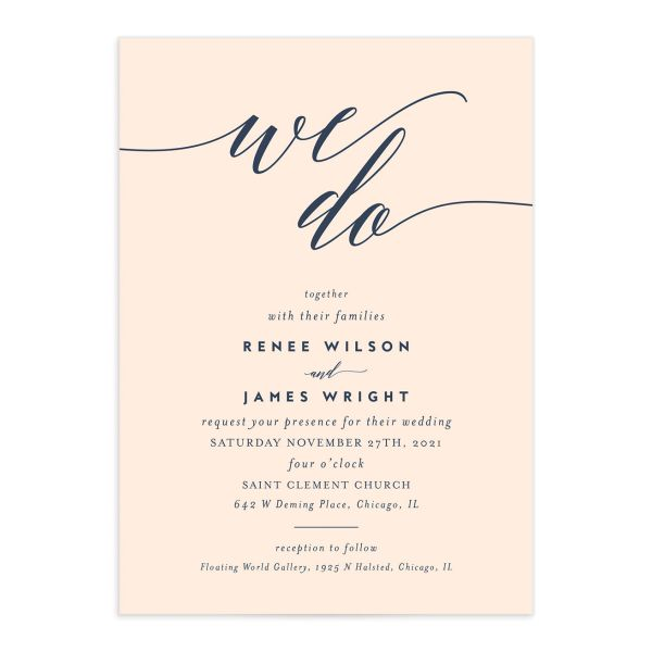 We Do Wedding Invitations front in pink