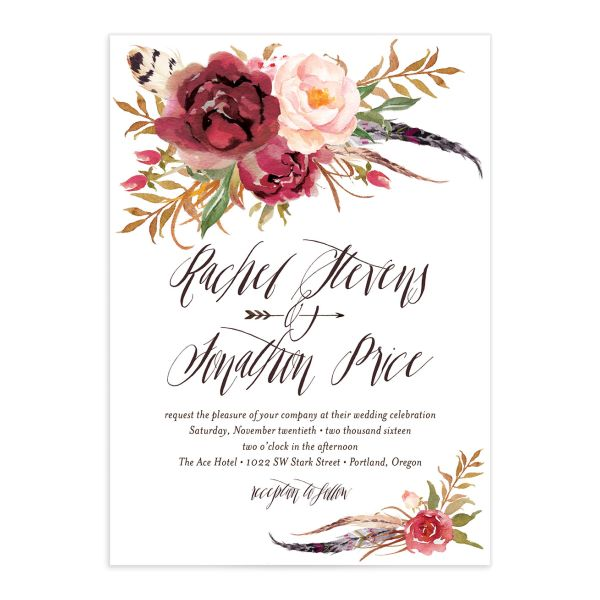 bohemian floral wedding invitations in burgundy