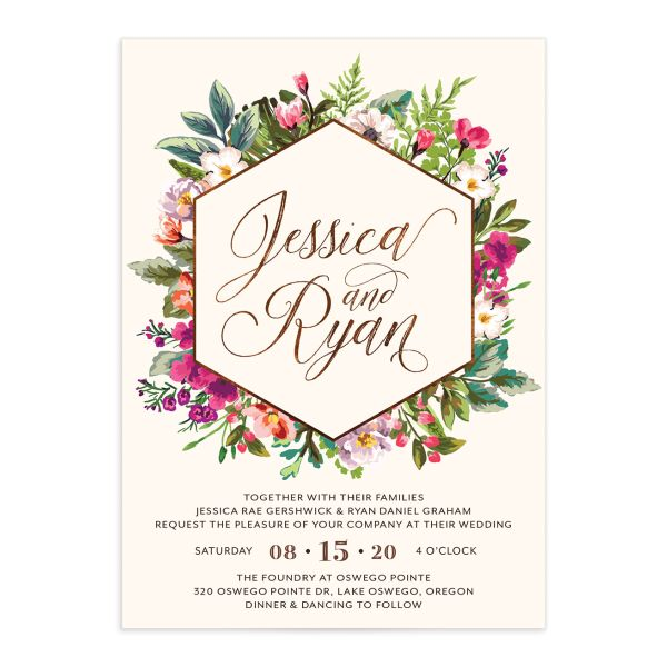 Bronze Floral Frame Wedding Invitations front