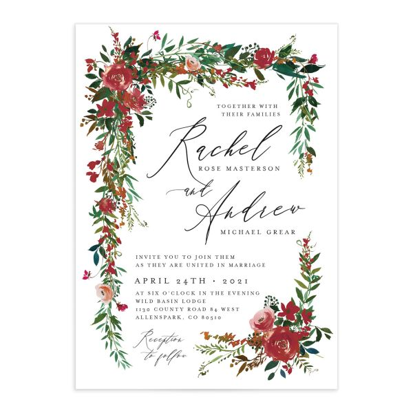 Cascading Altar wedding invitations in burgundy closeup