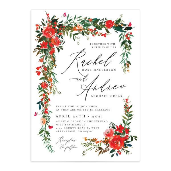 Cascading Altar wedding invitations in bright red closeup