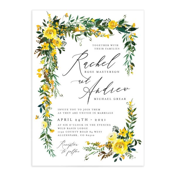 Cascading Altar wedding invitations in yellow closeup