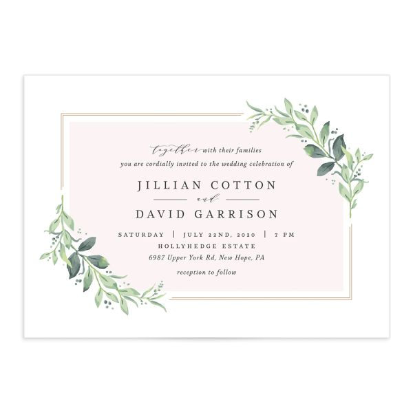 classic greenery wedding invitations in pink