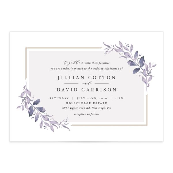 classic greenery wedding invitations in purple