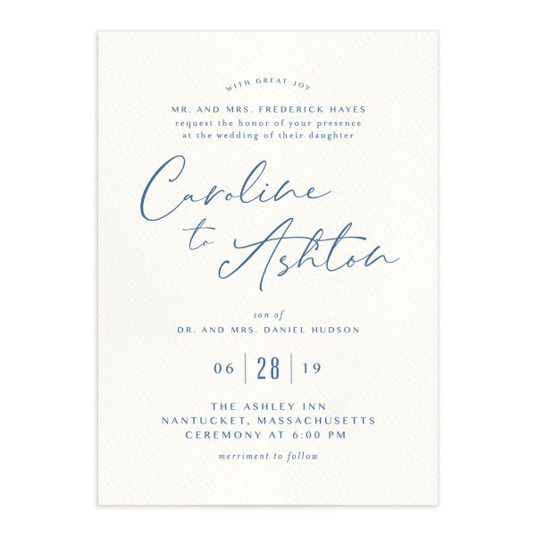Coastal Love wedding invites in blue front