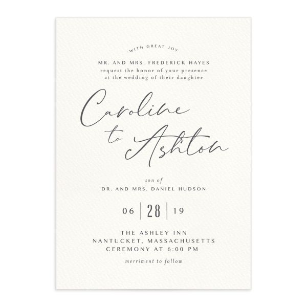 Coastal Love wedding invites in grey front