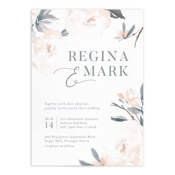Elegant Garden invitation blue