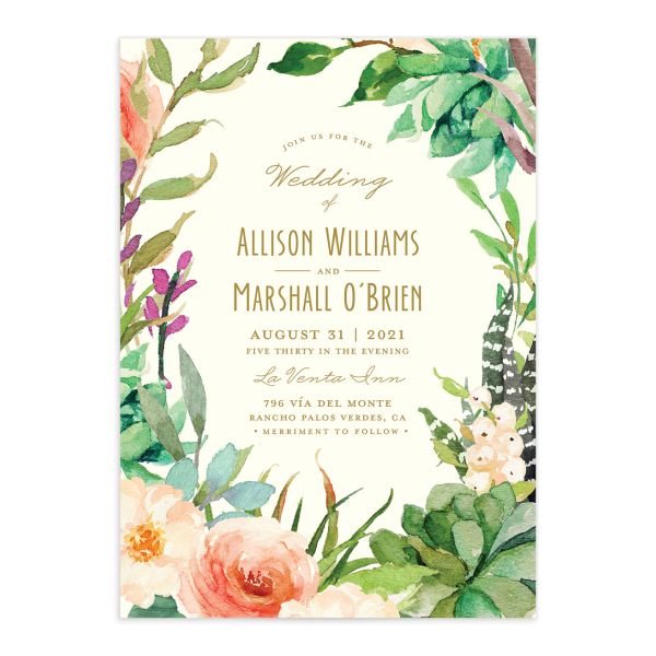Elegant Oasis Wedding Invites front closeup
