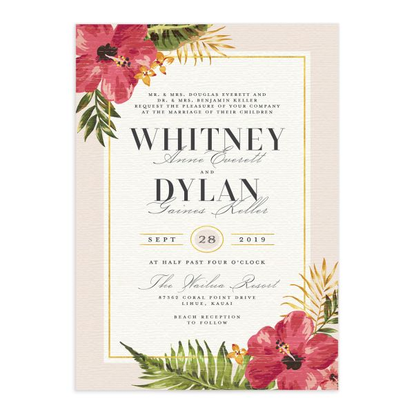 elegant paradise destination wedding invitations in pink