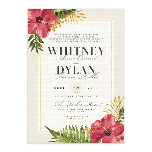 elegant paradise wedding invites in cream
