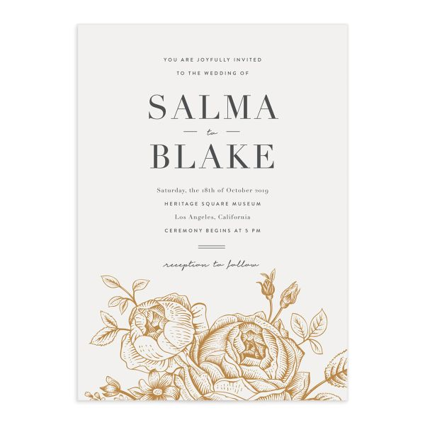 Etched botanical wedding invitations