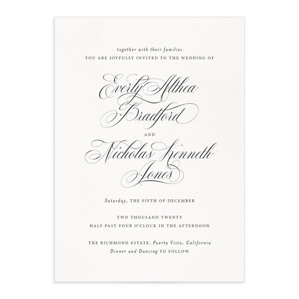 exquisite calligraphy elegant wedding invitations