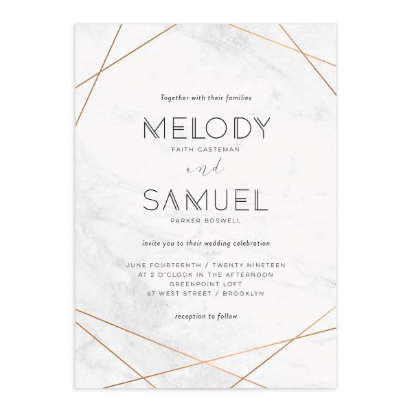 Geometric marble modern wedding invitations