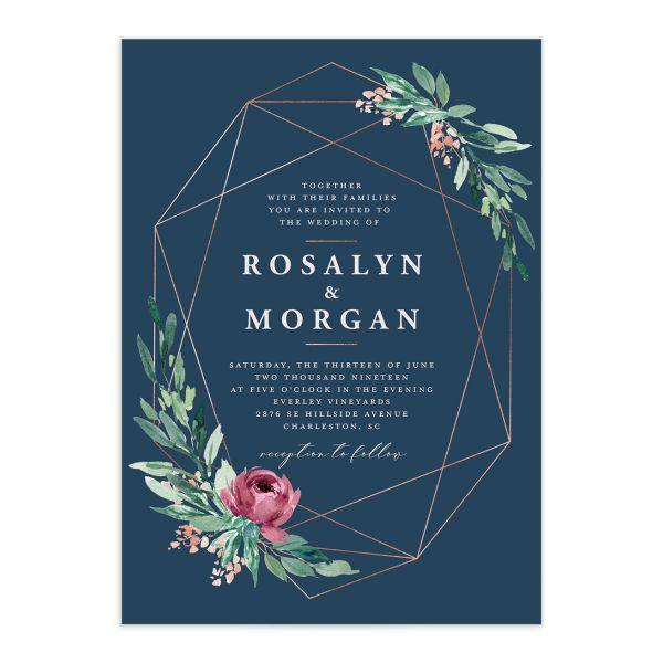 Gilded Botanical wedding invitation