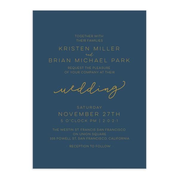 Gold Calligraphy Wedding Invites closeup blue front