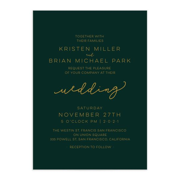 Gold Calligraphy Wedding Invites closeup green front