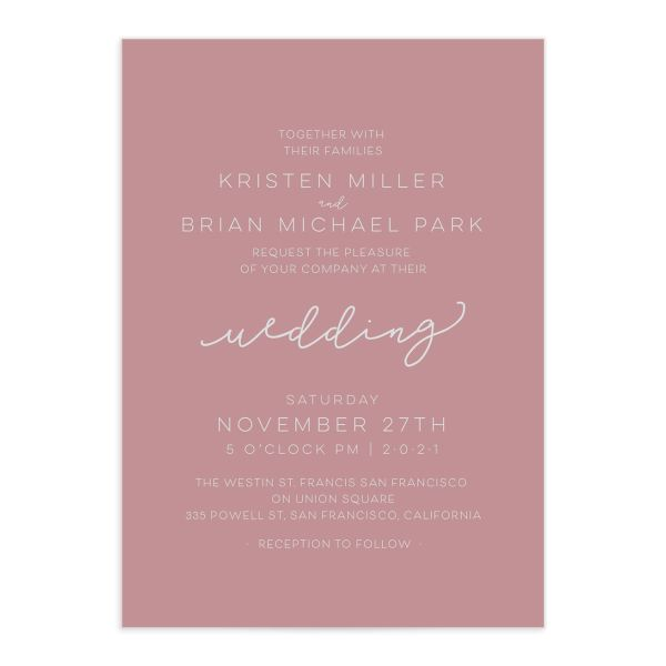 Gold Calligraphy Wedding Invites closeup pink front