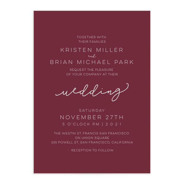 Gold Calligraphy Wedding Invites closeup red front