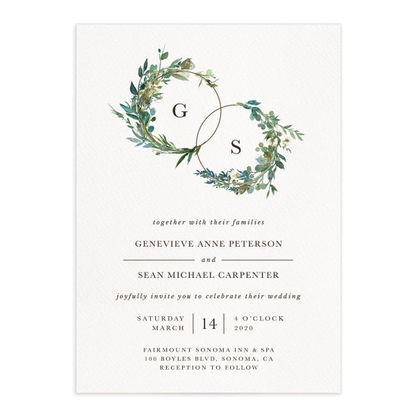 Leafy Hoops Wedding Invitation closeup