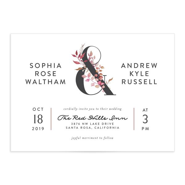 leafy ampersand wedding invites in purple