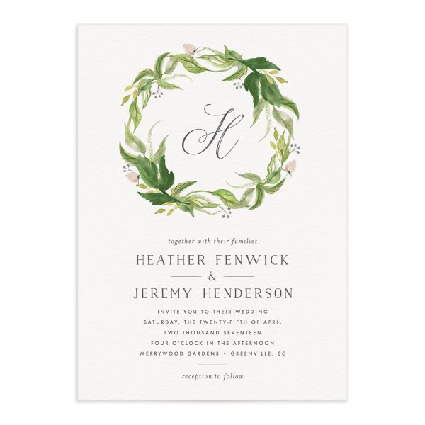 leafy wreath wedding invitations in green