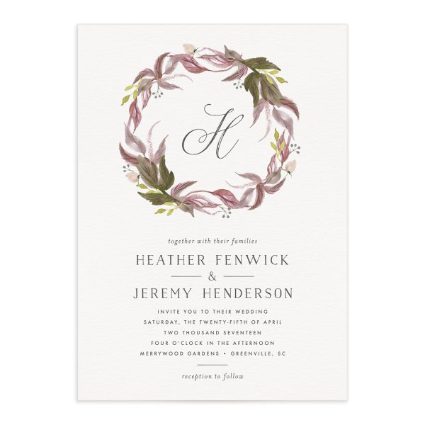 leafy wreath wedding invitations in purple